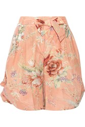 Zimmermann Anais Floral Print Cotton And Silk Blend Voile Shorts Orange