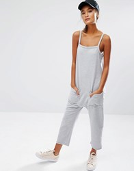 Daisy Street Jersey Jumpsuit With Raw Hem And Pockets Gray Marl