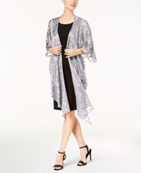 86a5841bbf1 Steve Madden Baroque Burnout Draped Evening Wrap Grey