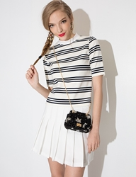 Pixie Market Ivory Stripe Mock Neck Top