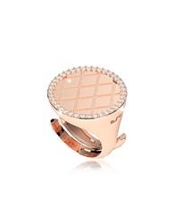 Rebecca Melrose Rose Gold Over Bronze Ring W Cubic Zirconia Pink