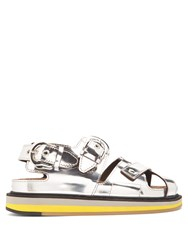 Maison Martin Margiela Buckle Cross Strap Leather Sandals Silver