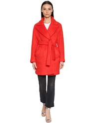 Giada Benincasa Mohair Blend Midi Coat Red
