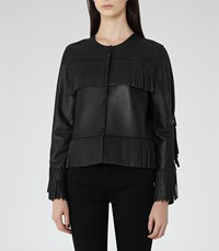 Reiss Olivia Womens Fringed Leather Jacket In Black