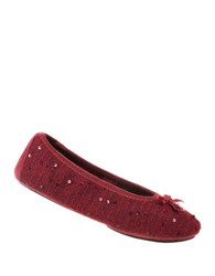 Isotoner Holiday Sequined Knit Ballet Flats Henna