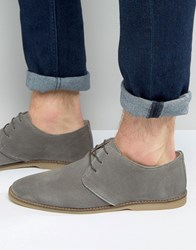 Asos Derby Shoes In Grey Suede With Piped Edging Grey