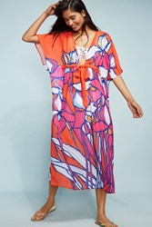 Anthropologie Allihop Square Caftan Cover Up Bright Red