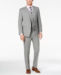 Michael Kors Men's Classic Fit Gray Purple Glen Plaid Vested Suit Grey Purple