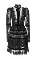 Elie Saab Velvet Long Sleeve Dress Black