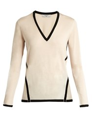 Lanvin Contrast Trim Wool Knit Sweater Light Pink