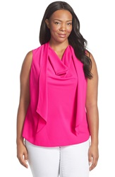 Ellen Tracy Drape Scarf Neck Shell Plus Size Primrose