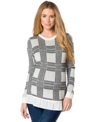 Central Park West Maternity Plaid Ruffle Hem Sweater Cream Black Plaid