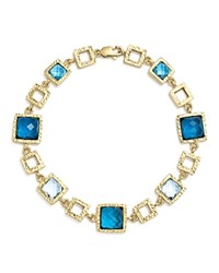 Bloomingdale's London Blue And Swiss Blue Topaz Geometric Bracelet In 14K Yellow Gold 100 Exclusive Blue Gold