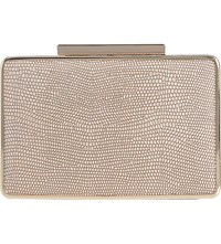 Lk Bennett Nina Metallic Leather Box Clutch Sil Silver