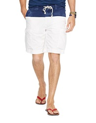 Polo Ralph Lauren Relaxed Fit Nautical Cargo Shorts White Navy
