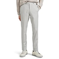 Barneys New York Cotton Oxford Cloth Flat Front Trousers Light Gray
