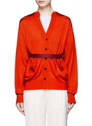 Toga Archives Belted Dropped Shoulder Cardigan Red