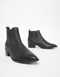 Selected Leather Pointed Chelsea Boots Black