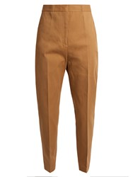 Jil Sander Attila Cropped Cotton Trousers Brown