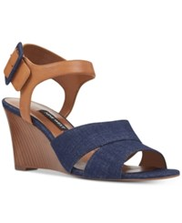 Nine West Vahan Wedge Sandals Women's Shoes Blue Denim