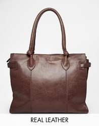 Urbancode Leather Tote Bag With Knotted Handle Detail Bitterchoc