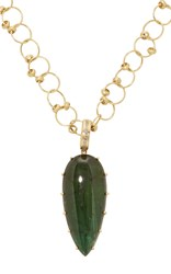 Lfrank Tourmaline Teardrop Pendant On Gold Single Loop Beaded Chain Green