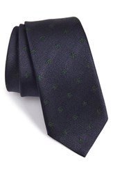 Gucci Men's New Alaie Embroidered Silk Tie Navy Green