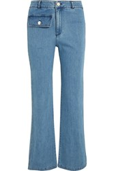 See By Chloe High Rise Straight Leg Jeans Mid Denim