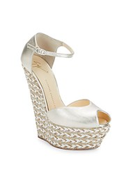 Giuseppe Zanotti Metallic Leather Platform Wedges Platinum