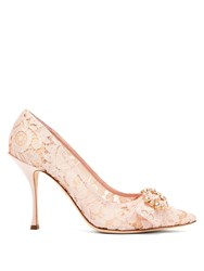 Dolce And Gabbana Lori Crystal Embellished Lace Pumps Nude