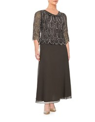 J Kara Plus Beaded Cowlneck Gown Slate Mercury
