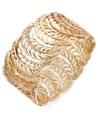 Thalia Sodi Gold Tone Pave Crystal Leaf Stretch Cuff Bracelet Only At Macy's