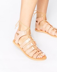 Warehouse Lace Up Flat Gladiator Sandals Beige