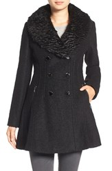 Guess Women's Boucle Fit And Flare Coat With Faux Fur Collar Black