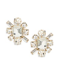 Rj Graziano Faceted Crystal Starburst Stud Earrings Gold