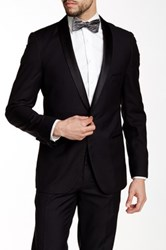 Paisley And Gray Black Solid Slim Fit Shawl Lapel One Button Tuxedo Jacket
