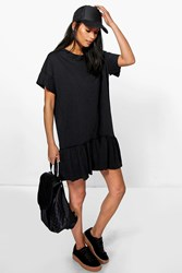 Boohoo Ruffle Hem T Shirt Dress Black