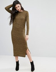 Vero Moda Long Sleeve Jersey Midi Dress Kangaroo Brown