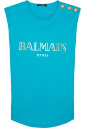 Balmain Button Embellished Printed Cotton Jersey Top Turquoise