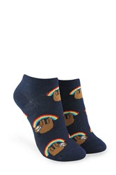 Forever 21 Rainbow Sloth Graphic Ankle Socks Navy Multi