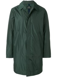 Paul Smith Ps By Single Breasted Raincoat Nylon Polyester Green