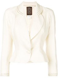 John Galliano Vintage Cut Out Detail Fitted Blazer Nude And Neutrals