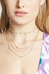 Forever 21 Faux Stone Necklace Set Gold Clear