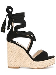 Paloma Barcelo Fay Wedged Sandals Black