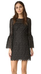 Cynthia Rowley Ditzy Floral Bell Sleeve Dress Black