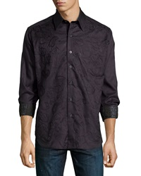 Robert Graham Classic Fit Westport Paisley Embroidered Sport Shirt Black