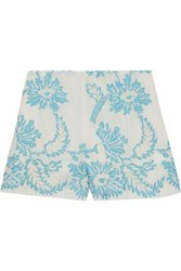Anna Sui Woman Embroidered Cotton Gauze Shorts Ivory