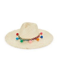 Dorfman Pacific Pom Pom Accented Panema Hat Natural