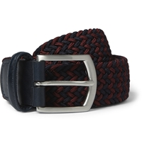 Anderson's Navy 3.5Cm Leather Trimmed Elasticated Woven Belt Blue