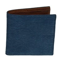 40 Colori Petrol Solid Washed Mogador And Leather Wallet Blue